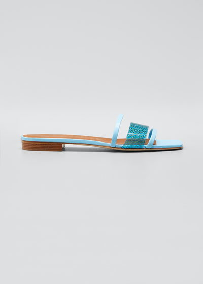 Triple Strap Vinyl Flat Slide Sandals