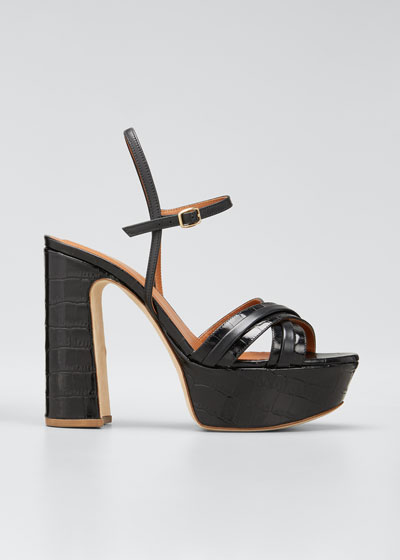 Mila 125mm Croc Printed Platform Sandals