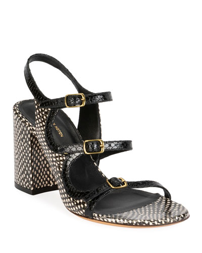 Three Thin Strap Block-Heel Sandals