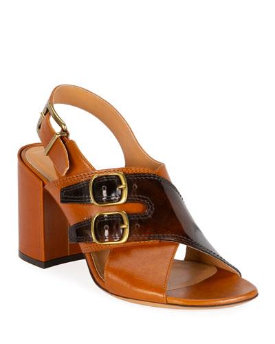 Double Buckle Block-Heel Sandals