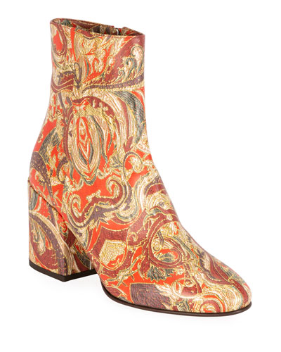 Paisley Thick-Heel Ankle Boots