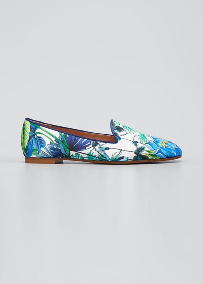 Tropical-Print Smoking Loafers