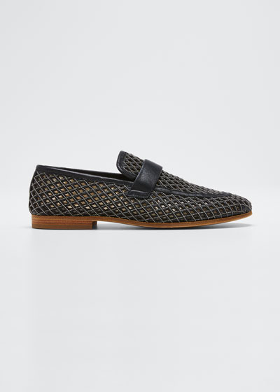 Monili Leather Laser-Cut Loafers