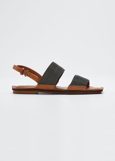 Lissato Calfskin Monili Crystal Flat Sandals