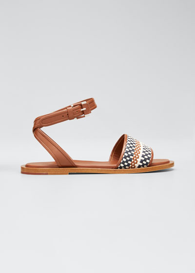Flat Woven Leather Ankle-Strap Sandal