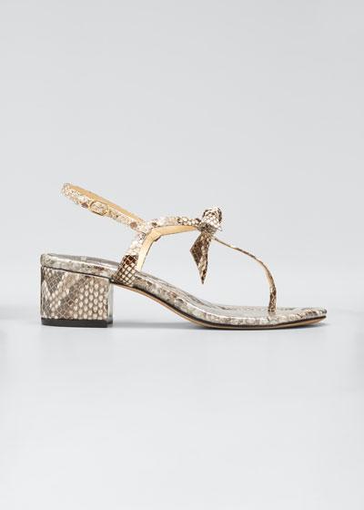 45mm Clarita Python Block-Heel Sandals