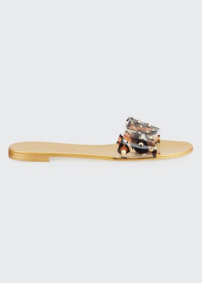 Leopard-Print Studded Flat Slide Sandals