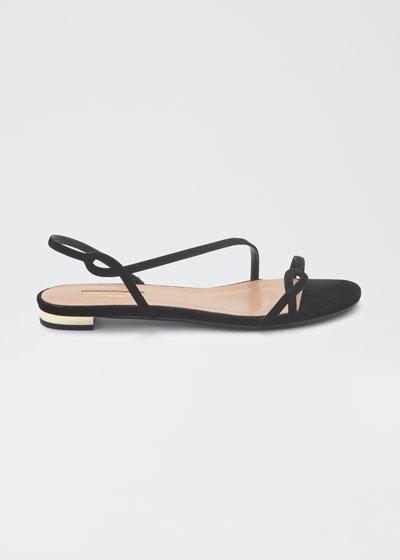 Serpentine Flat Suede Slingback Sandals