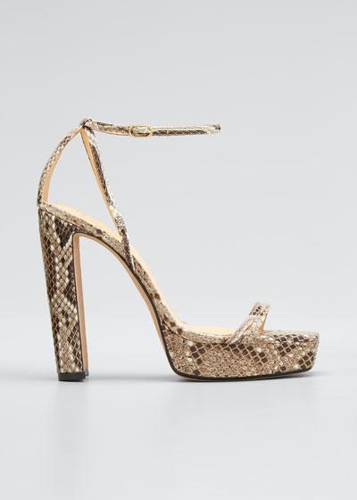 Lenny Python Ankle-Strap Platform Sandals