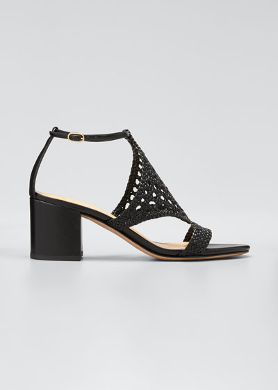 60mm Cadie Woven Leather Sandals, Black