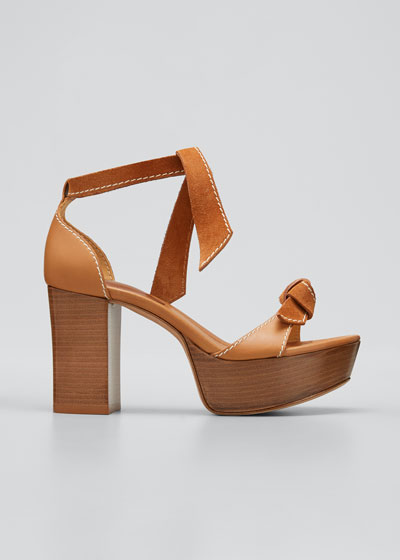 85mm Clarita Mixed Leather Ankle-Tie Sandals