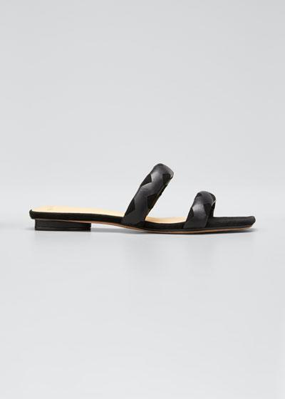 Pamella Patent Flat Sandals