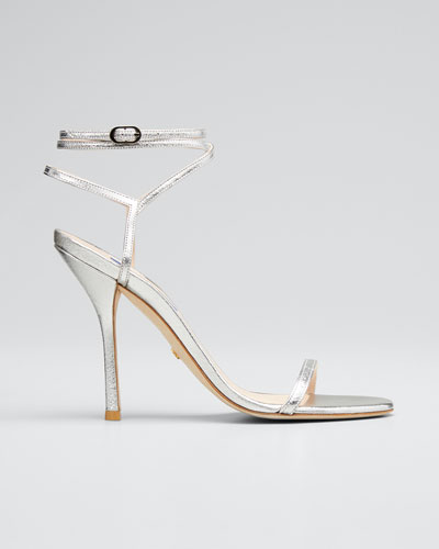 Merinda Metallic Leather Ankle-Wrap Sandals