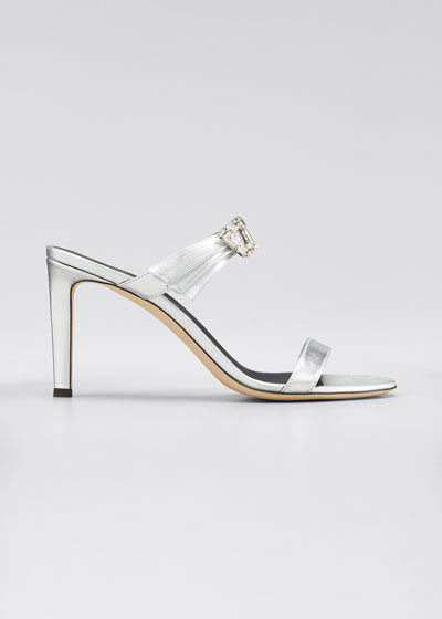 85mm Metallic Mule Sandals with Crystals