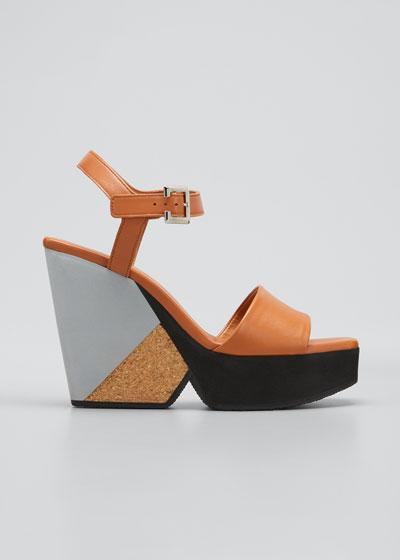 Pearl Leather Cork Wedge Platform Sandals