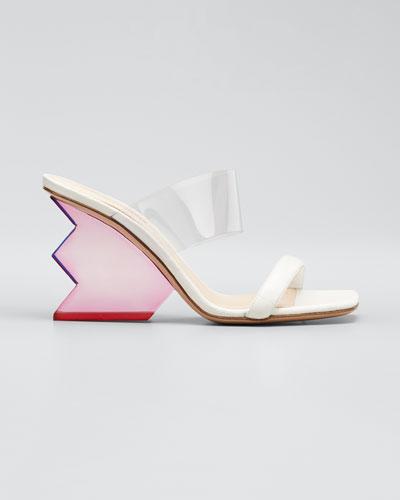 Aurora Structural-Heel Leather Mule Sandals