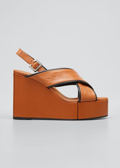 Mirane Crisscross Bicolor Wedge Platform Sandals