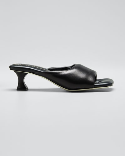 Kitten-Heel Leather Mule Sandals