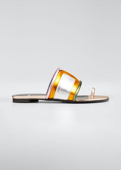 Targa Metallic Colorblock Slide Sandals
