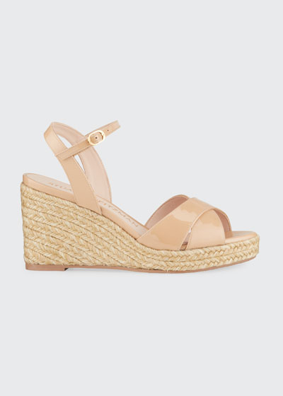 Rosemarie Patent Leather Wedge Espadrille Sandals