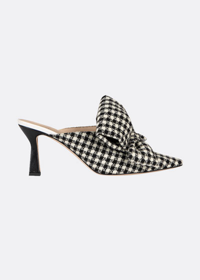 Lotte Gingham Bow Slide Mules