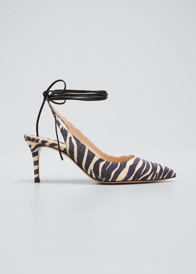 Zebra-Print Suede Ankle-Tie Pumps