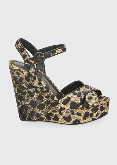 90mm Leopard-Print Wedge Platform Sandals