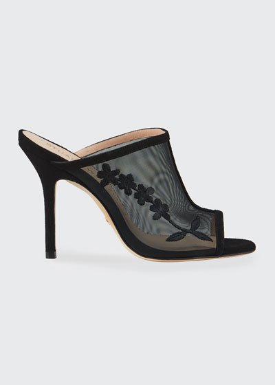 Vianca Floral Mesh Mule Sandals