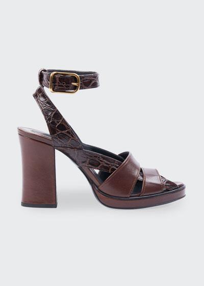 Daisy Croc-Print Leather Platform Sandals