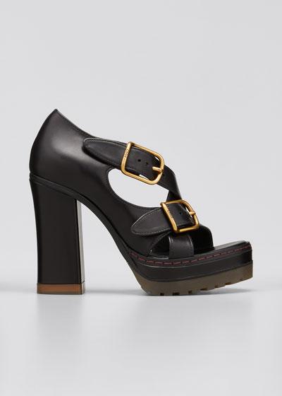 Daisy Crisscross Buckle Chunky-Heel Sandals