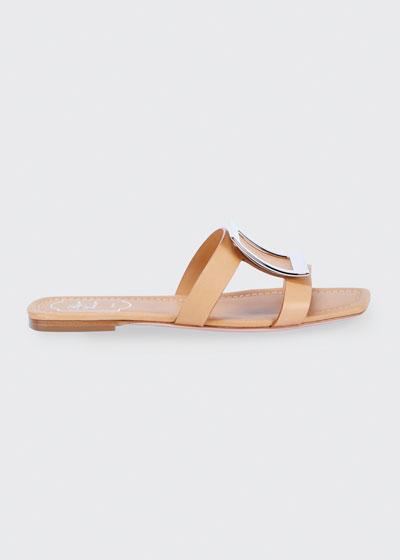 Biki Viv' Flat Leather Buckle Sandals