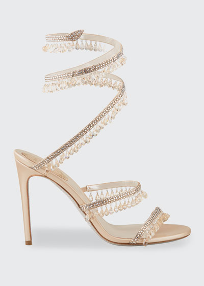 Chandelier Snake Beaded Crystal Ankle-Wrap Sandals