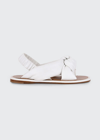 Flat Knotted Leather Slingback Sandals