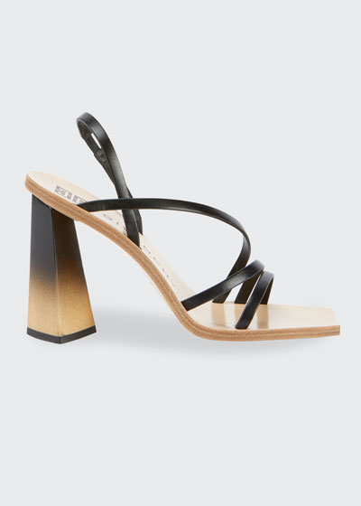 100mm Strappy Leather Ombre-Heel Sandals