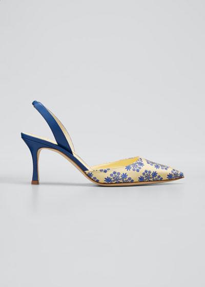 Carolyne Kitten-Heel Floral Pumps