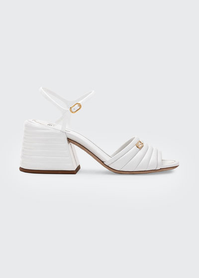 65mm Stitched Leather Block-Heel Sandals