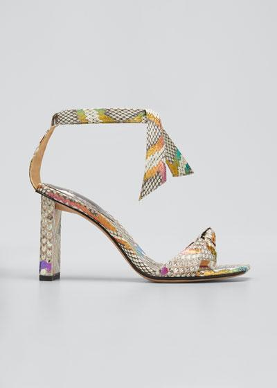 Clarita Multicolored Python Ankle-Wrap Sandals