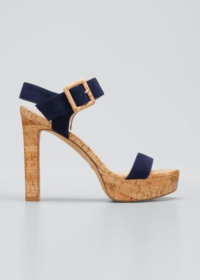 Alesha Suede Cork Platform Sandals