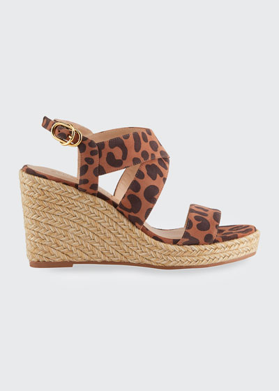 Ellete Leopard-Print Wedge Sandals