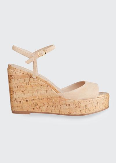 Palmina Suede Cork Wedge Sandals