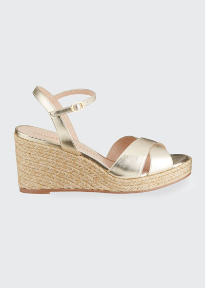 Rosemarie Metallic Espadrille Wedge Sandals
