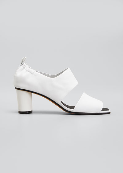 Micol Soft Leather Peep-Toe Sandals, White