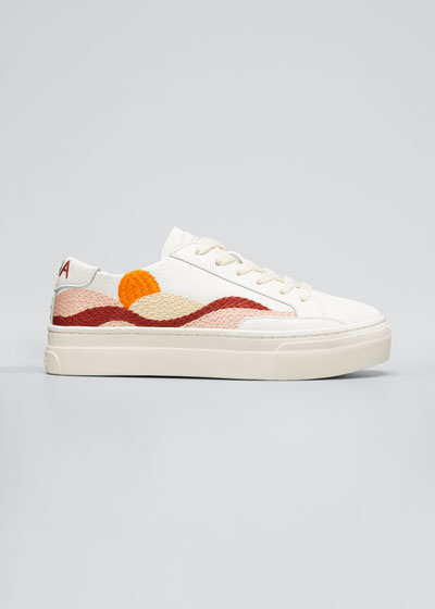 Hawaiian Fauna Embroidered Low-Top Sneakers