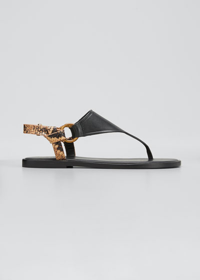 Pharis Flat Snake-Print Slingback Thong Sandals