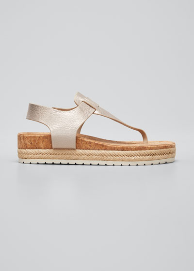 Flint Metallic Cork Espadrille Sandals