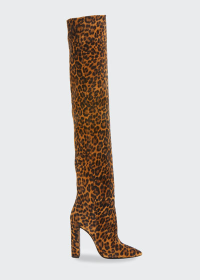 Leopard-Print Suede Over-the-Knee Boots