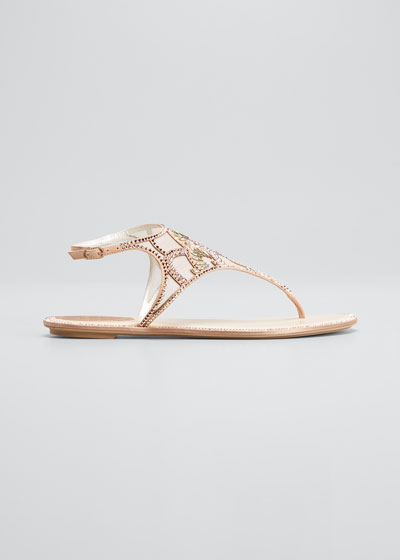 Deco Embellished Flat Thong Sandals