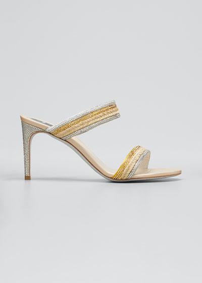 80mm Satin Juta Strass Slide Sandals