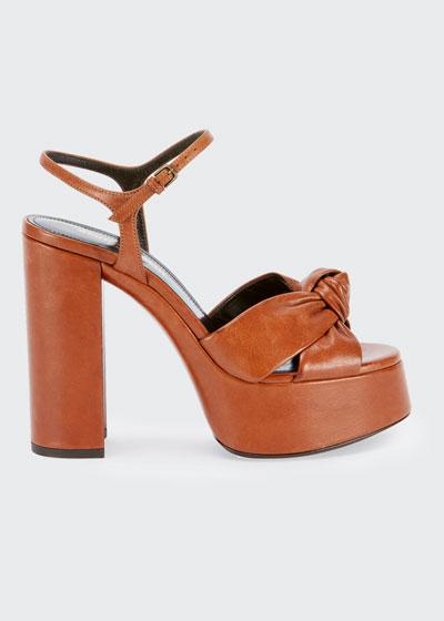 Knotted Leather Platform Sandals