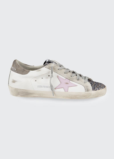 Superstar Mixed Leather Glitter Sneakers